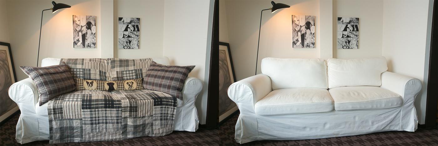 右と左の写真で違うのは、ソファに掛けたファブリックとクッションカバーのみ。大物家具はそのままでも模様替えの効果を感じます。光が透過しないシェードの付いたスタンドライトは壁に光を当てて陰影を出すことで部屋をシックな雰囲気に演出しています