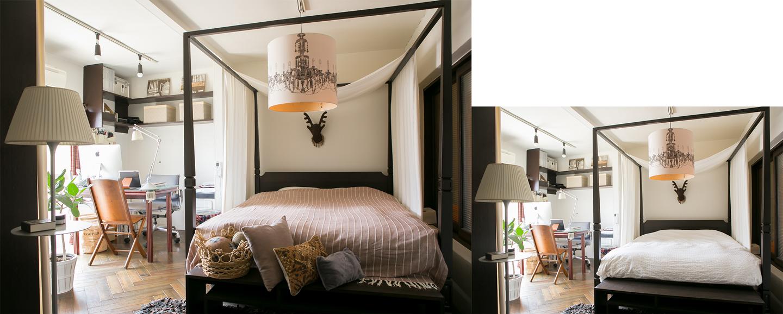 寝室はベッドカバーとクッションカバーを落ち着いた色のファブリックに替えるだけでこんなに秋らしく変化します