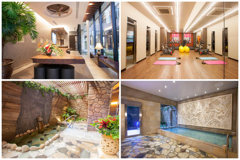 リゾートホテル並の充実した入居者専用施設。(左上)パーティールーム、(右上)フィットネスルーム、(左下)天然ささしま温泉 露天風呂、(右下)大浴場