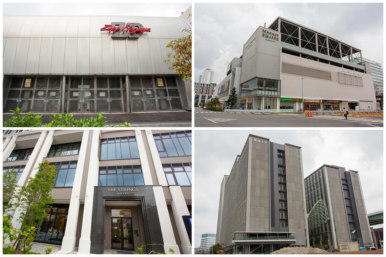 ささしまライブ駅周辺の環境。(左上)Zepp Nagoya、(右上)マーケットスクエアささしま、(左下)ストリングスホテル名古屋、(右下)愛知大学。「ロイヤルパークスERささしま」から徒歩5~7分ほど