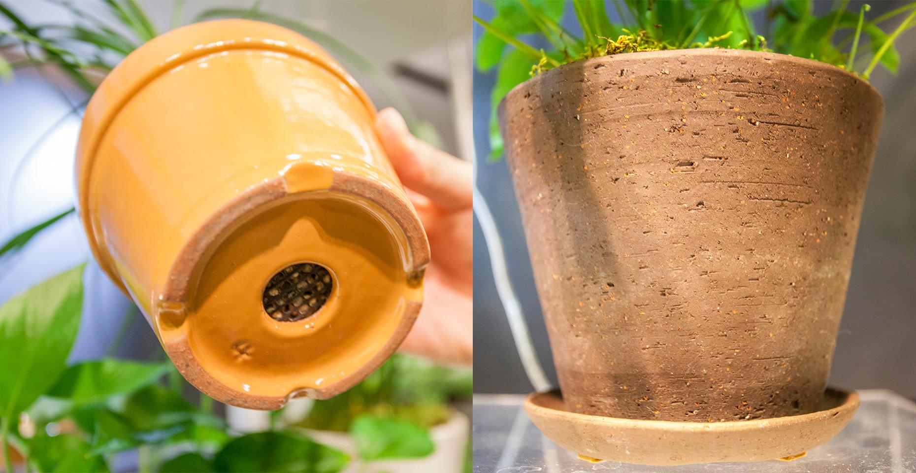 土も呼吸をしなければけないので、鉢は素焼きなどのより自然に近い素材のものを。通気性もよく、植物も上手に育ちます。水をあげ過ぎた時も余分な水分が溜まりっぱなしにならないように、鉢は必ず下に穴の開いているものを選びましょう。