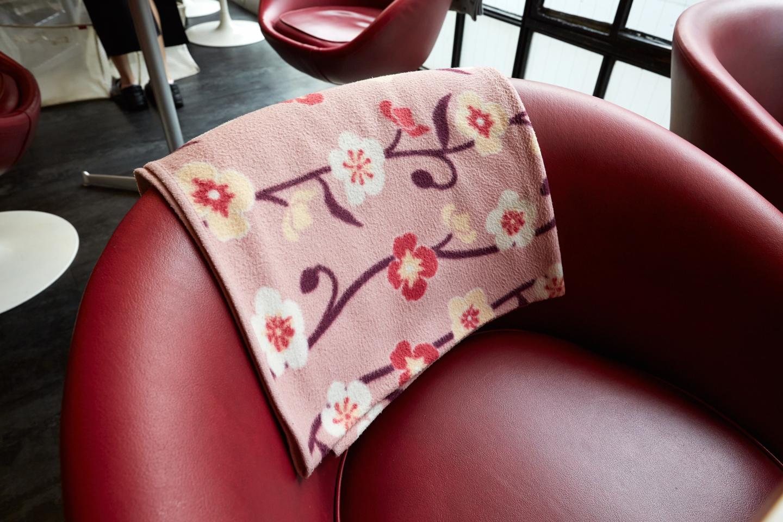 ソファにはひざ掛けが添えられています。細やかな心遣いは女性にとってうれしい限りですね