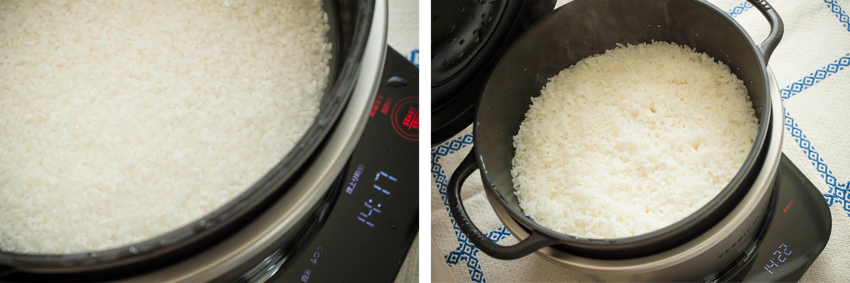 """炊飯まで置いておかなければいけない""""浸水""""も、「ライスポット」が自動で行ってくれるので簡単。炊き上がりもふっくら!"""