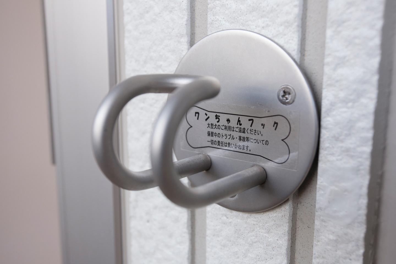 部屋の屋外玄関ドア脇には全戸にリード用フックを設置。外出前後のちょっとした身支度にも、とっても重宝します