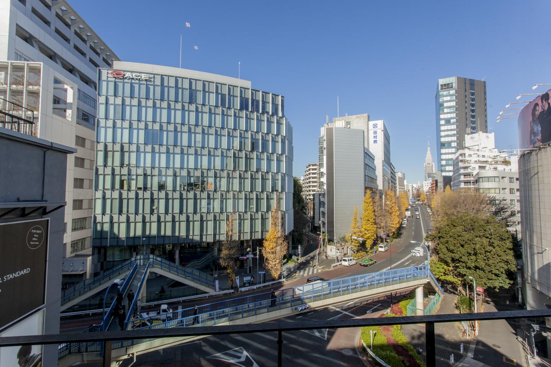 原宿駅から徒歩9分に住むを実感できるTHE SHAREの屋上からの眺望。東京都心開催の神宮外苑花火大会の日は特等席になる