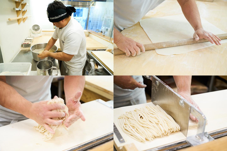 粉、水、かん水、塩をボウル内で合わせ、柔らかなタッチでかき混ぜると瞬く間にまとまって生地に。麺棒で数回伸ばして小気味よく手切りし、絶妙な力加減で揉むと独特の縮れ麺が完成です