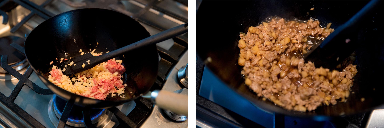 豚ひき肉(50g)、たけのこ(30g)、しょうが(ひとかけ)、ごま油(小さじ1)、白いりゴマ(大さじ1)に、調味料はしょうゆ(大さじ1)、酒(大さじ1)、砂糖(大さじ1)、水(大さじ1)、豆板醤(小さじ1/3)を用意。①たけのことしょうがは粗みじん切りにする。②鍋にごま油と1のしょうがを入れて加熱し、香りがしてきたらひき肉を加えてほぐしながら炒める。③調味料とたけのこを加えて汁気がほとんどなくなるまで煮る。④白いりゴマを加えて混ぜ合わせたら、「たけのこの肉味噌」の完成です。