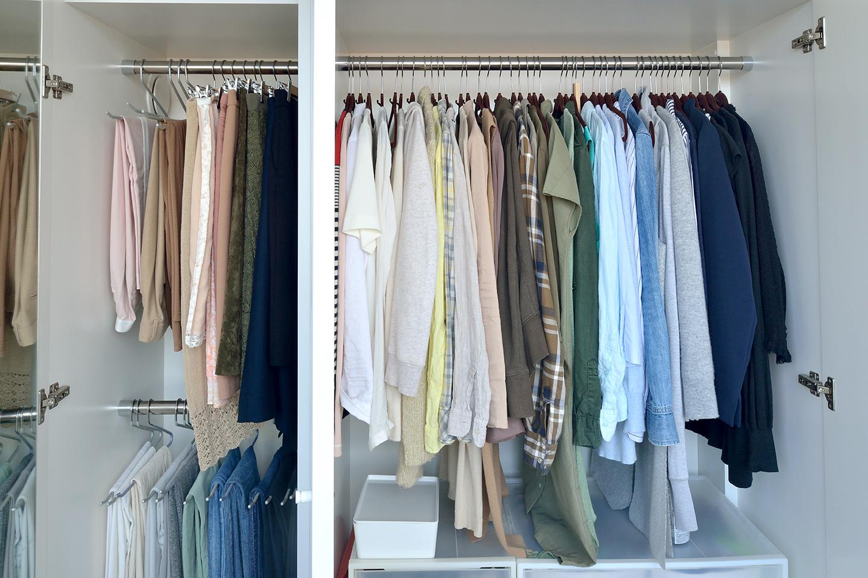 感覚で服を素早くコーディネートもできるように、宇高さんは大まかな色別でクローゼットを整理している。洋服の数を必要なものだけにして、1年を通して衣替えをしないのも片付け、整理の手間を省くポイント。収まらなくなったら手放すことを検討している。