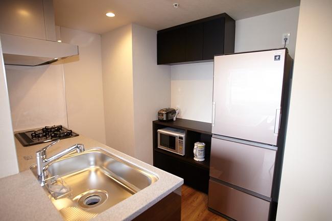 1LDKのキッチン。人造大理石キッチンカウンターがあり、ディスポーザー、浄水器一体型シャワー水栓付き。収納も多く、吊戸棚収納には「耐震ラッチ」が装備されています