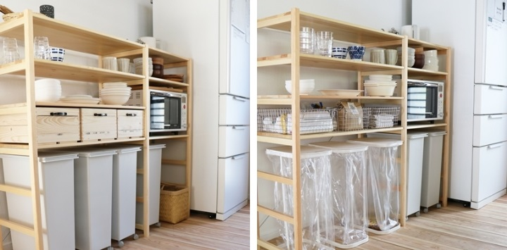 """やまぐちさん宅のキッチン。左が以前の""""見せる収納""""、右が新たな""""わかる収納""""です。何をどこにしまうか、ゴミはどのように分別するかが可視化されています。"""