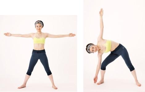 """お腹の前側だけでなく、引き締まった美腹にはわき腹のエクササイズも必須。大きな動きでカラダの側面を伸ばす「トライアングル」を。まず、足を横に大きく開いて立ち、両腕は肩の高さで横に広げて水平に保ち、全身で""""大の字""""をつくって。両腕を伸ばしたまま、体を右に倒していきます。右膝を曲げ、右手の先は床に、左手の先は天井に向けて、両腕と左脚で三角形をつくるイメージ。これを左右交互に10回、2セット行いましょう。"""