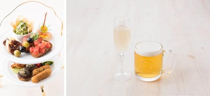 通常のディナーで提供されるニューヨーク最新トレンドを盛り込んだビストロメニューに加え、特別メニュー「サラベス特製オードブルタワー」(1200円)が登場。またドリンクは各種カクテル、ワインがそろうほか、特別価格(各500円)のハートランド生ビール、グラススパークリングワインが