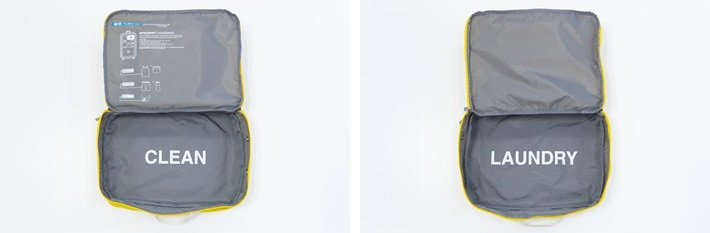 ↑ランドリーポーチと洋服用ポーチが二層構造で一体化したパッキングケースが便利。きれいな服と汚れものをいっしょにしまう不快感や、混在してわからなくなってしまう失敗をなくせます。