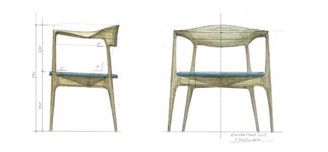 クラフトデザイナー松岡茂樹さんが実際に描いた「cocoda chair 2017」のスケッチ画。改良が加えられた背もたれ部分を中心に、緻密で繊細な線で描かれています