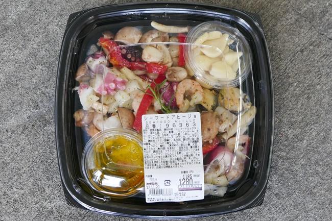 シーフードアヒージョは、700gで1185円(税抜)。エビ、ホタテ、イカ、タコ、ムール貝など魚介がたっぷり入っている