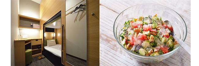 左:キャビンは上段にある場合も。右:彩りも栄養バランスも満点なチョップドサラダ