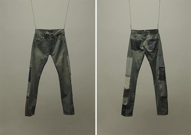 こちらは、ベースとなるジーンズにパッチワークを施したもの。パッチワークはデニムのほか、シャツやスウェット生地なども。着用すると、前後で印象がまったく異なる