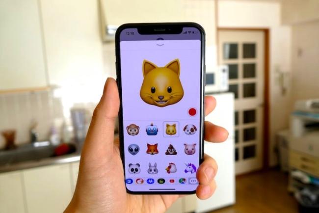 iPhone Xでは前面に「TrueDepthカメラ」というシステムを採用している。ちょうどディスプレイの凹型のくぼみ部分にこのカメラのシステムが配置されている画面は「アニ文字」というiPhone Xオリジナルの機能