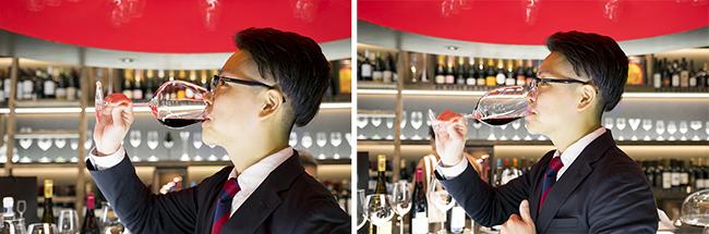 グラスの形状によって、ワインが口内へ入る角度が変わることで、味わいの印象も変わるのです