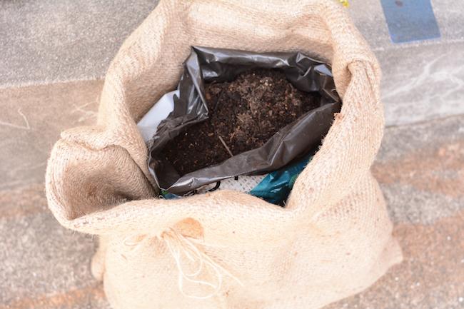 麻袋の中に、培養土の袋を入れ、上部を切ります。穴を開けたい人は底部分に開けてもOK