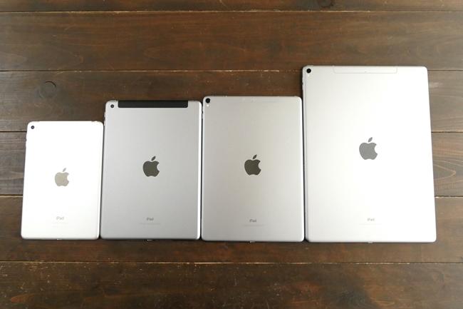 背面カメラはiPad Proシリーズが1200万画素、他2機種が800万画素。よく見ると、レンズのサイズも違い、iPad Proではレンズが少しだけ飛び出ている