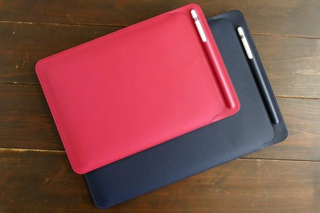 Apple Pencilを持ち運ぶには収納機能のあるアクセサリを活用するといい。写真はApple Storeサイトでも販売しているiPad Pro用の「レザースリーブ」(別売)