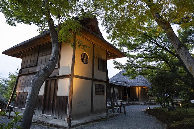 もっとも高台には、傘亭(写真手前)と時雨亭(写真奥)のふたつの茶室。利休の意匠によるものといわれる。