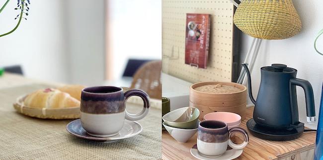 竹野さんの投稿より。陶芸作家・竹村良訓のカップアンドソーサー。テーブルクロスはZARA HOMEのもの。右は同じく陶芸作家・青木良太の器とまとめて飾ったキッチンの棚。気に入った器はしまい込まずに飾っている。