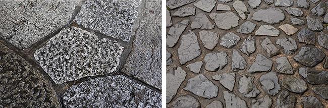 十字ではなく、T字になるように石を組み合わせていく方法。