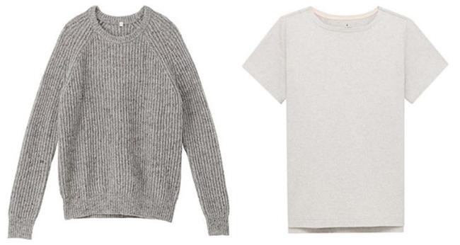 衣料品でも生産工程で出た端布などを使った商品を展開。左は「再生ウール」、右は「再生コットン」