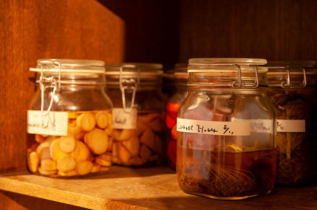 ターメリックやタンポポ、ピクルス、豆板醤など、棚には自家製の発酵調味料が所狭しと並ぶ。