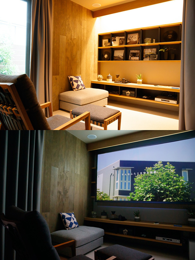 「シアターモードにして」というと、窓側のシャッターと全カーテンが電動で閉まり、照明もオフになりスクリーンが降りてきます。そしてプロジェクターがオンになり、映画館のように映像が楽しめます。