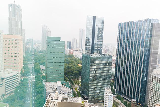 部屋からの眺め。高層ビルを横か下に眺めるような高さで、晴れた日には遠くまで見晴らすことができます。左手奥が東京都庁・第一庁舎と第二庁舎。