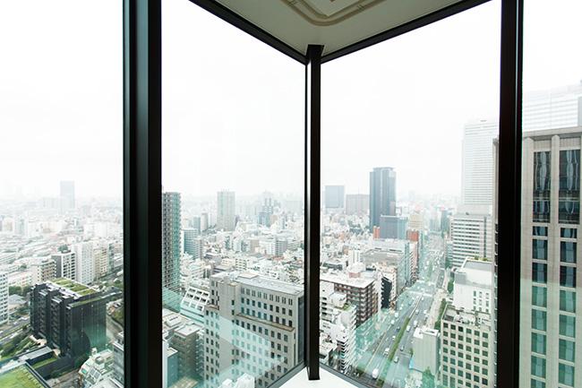 天井まで届くハイサッシが使われていることで見晴らしがよく、新宿の街が一望できます。窓が広いため、圧迫感も感じません。