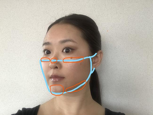 マスクでこすれやすい部分。