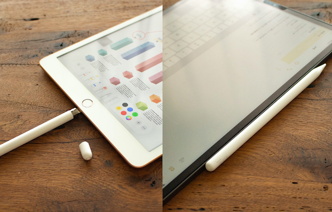 「第1世代(iPad、2018年モデルのiPad air、iPad miniに対応)はペン後端のキャップを外し、中にあるLightning端子をiPadに挿し込んで充電します。第2世代(iPad pro、2020年モデルのiPad airに対応)はワイヤレス充電に対応しているので、iPad本体の側面にマグネットで取り付けるだけで充電できます」