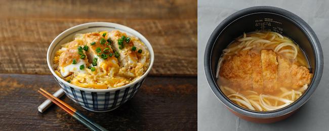 市販されているカツと玉ねぎを調味料と一緒に炊き、最後に卵を回し入れる「かつメシ」。/『同時メシ』(宝島社)より