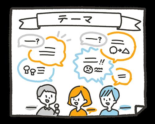 トークセッションや対談、インタビューなど、数人が話し合う場に効果的なのが「吹き出し型」です。話す人によって吹き出しの色を変えたり、問いの吹き出しと答えの吹き出しをセットにして配置したりするとやりとりが分かりやすくなります。