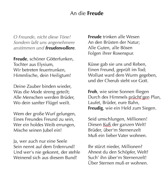 """第4楽章で歌われる「An die Freude(歓喜の寄せて)」。""""喜び""""を""""自由""""に置き換えれば、違った思いが見えてきます。"""
