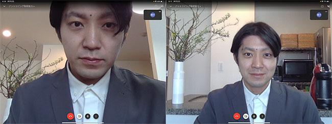 左は机の上にノートPCを直で置いた場合。右はPCスタンドを使い、顔の正面にカメラが来るように調節した場合。顔に光が当たって表情も明るく見えますね。