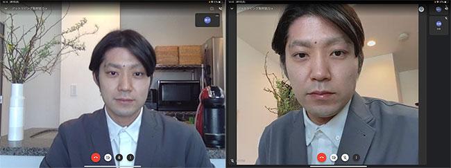 MacBook Airのカメラ(左)と、iPhone 11のインカメラ(右)の映り方を比較。iPhoneのほうが輪郭がくっきりしているだけでなく、肌の色もきれいです。