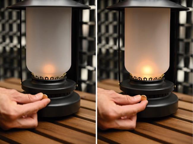 スイッチはつまみ式。つまみをひねることで、明るさ調整も可能。