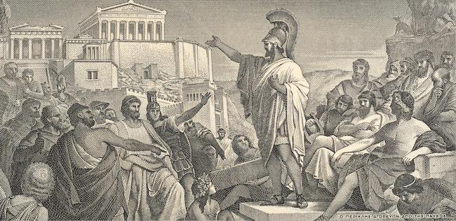 ギリシャの指導者、ペリクレスは、ペロポネソス戦争中に民主主義を讃える演説を行なったとされる。