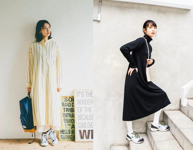 """現在はウェブメディアに形を変えた、""""いちばん身近なおしゃれのお手本帖""""「mer」から。私服は、リュックやスニーカーのちょっとボーイッシュなスタイルを、色をそろえたりフレアーシルエットを取り入れたりして品よくするのがマイルール。https://mer-web.jp/tag/miyazakiyo/"""