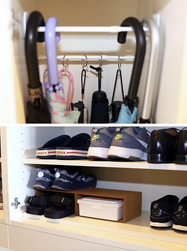 靴箱の中にウエットティッシュを置き、いつでも取り出せるようにしています。帰ってきたら靴底を拭いて元の位置に戻すことで、玄関に靴が出しっぱなしにならず、スッキリした状態を保てます。