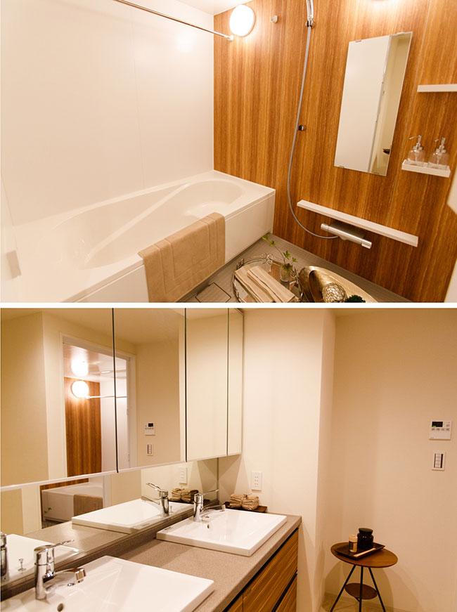 洗面所とバスルーム。洗面台はダブルシンク(居室により異なります)がポイントです。家族みんなが忙しい朝に重宝するのはもちろん、用途によって使い分けることもできます。