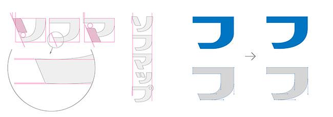 文字のボリュームが同じに見えるよう、「ソ・マ」は「フ」よりも、幅が広くなっている。