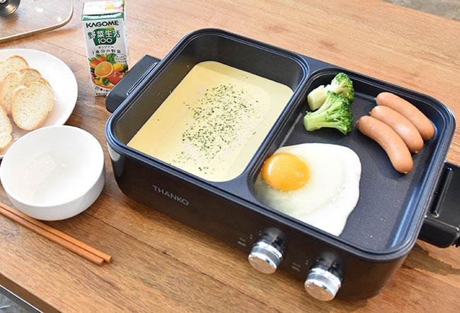 「焼き料理と煮込み料理を同時に作れるので、朝は目玉焼きとスープ、夜は餃子とラーメンなど、これ1台で丸1食分のメニューを作れます。すき焼きと焼き肉を同時に行う強者も。加熱がスピーディなので、サクッと食事を済ませたいときにも重宝します」(写真提供=サンコー)